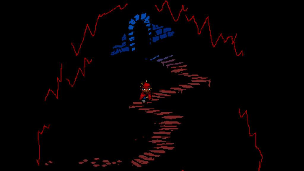 Screenshot preso da Everhood per la recensione: Red è appena uscito da un tunnel
