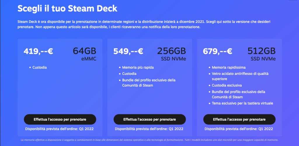 I vari tagli di Steam Deck, che alla fine son gli stessi di iPhone